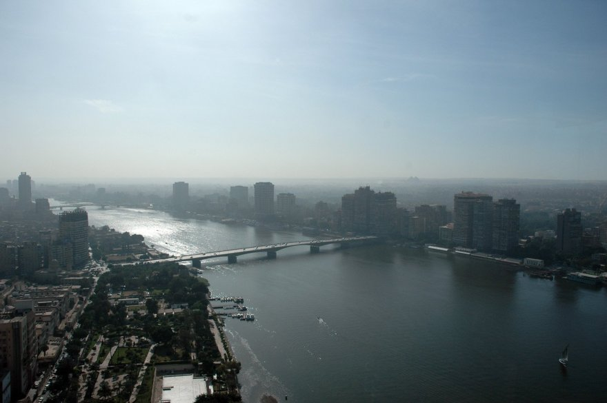 Skyline of Cairo centering the Nile River