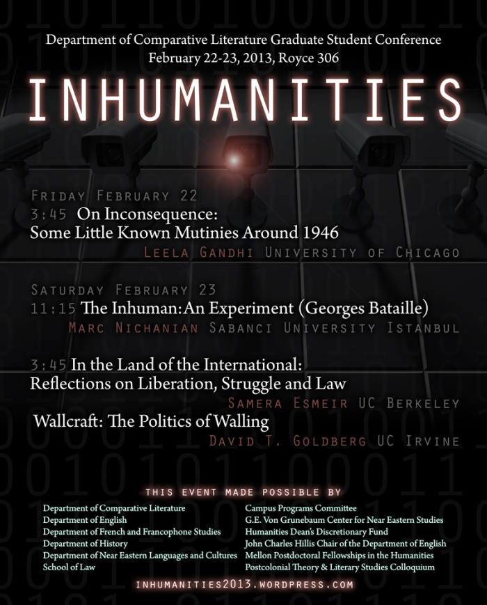 Inhumanities: Comparative Literature Conference, Feb 22-23, 2013 (UCLA)